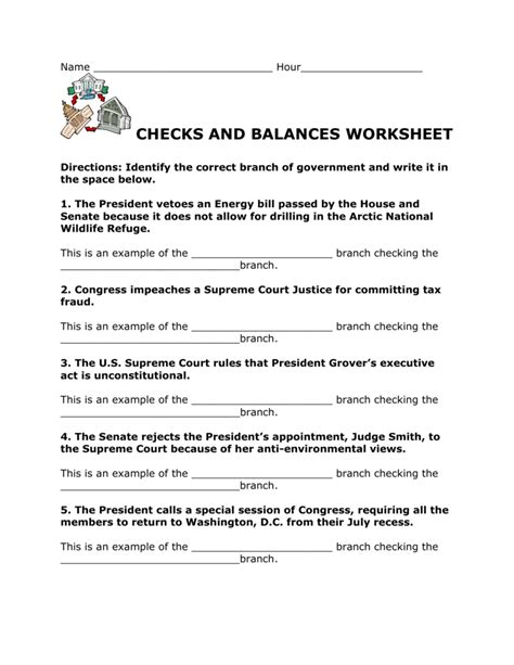 Checks And Balances Worksheet by Checks And Balances Worksheets Wiildcreative
