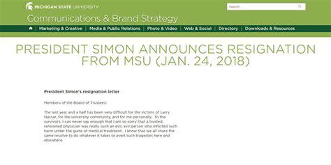 Lou Simon Resignation Letter
