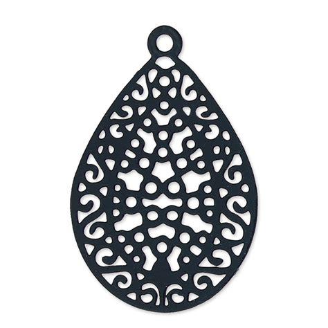 Black Elegance Wrpcc Laser Cut ciondolo laser cut goccia mm 24x16 black nickel x2 perles co