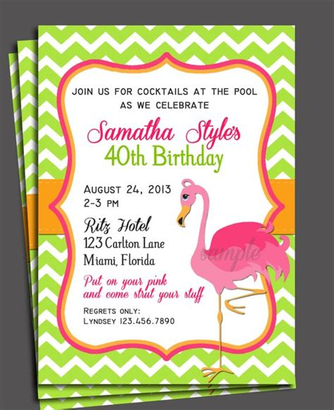 Pink Flamingo Invitation Printable Or Printed With Free Flamingo Invitation Template Free