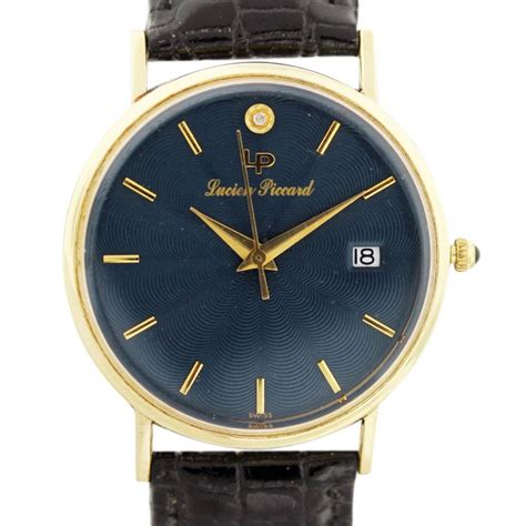 lucien piccard 14k yellow gold blue vintage mens