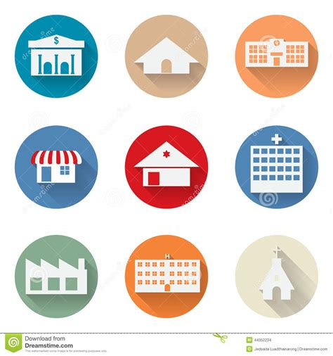 flat design icon vector vector of graphical urban building flat design icon stock