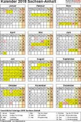 kalender 2018 sachsen anhalt ferien feiertage excel