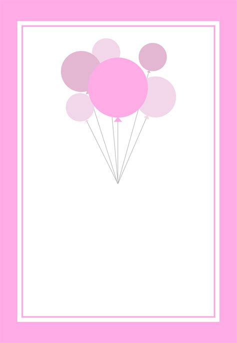 balloon birthday card template free printable pink balloons invitation work ideas