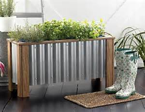 corrugated metal planter box for the garden