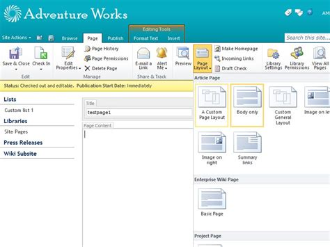 editing page layout in sharepoint 2010 sharepoint 2010 page layout templates choice image