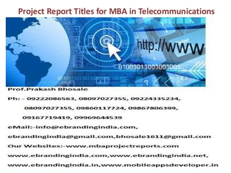 Use Mba In Title by Project Report Titles For Mba In Telecommunications