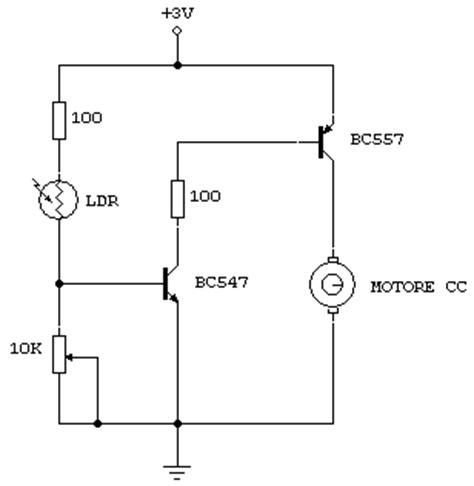 funzionamento transistor bc547 macchina fototropica