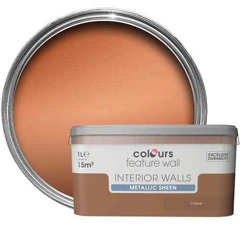 Wandfarbe Metallic Kupfer by Colours Feature Wall Copper Effect Metallic Emulsion Paint
