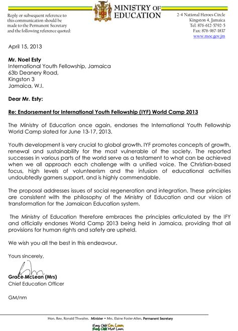 Endorsement Letter For World Youth Day Iyf World C Jamaica International Youth Fellowship