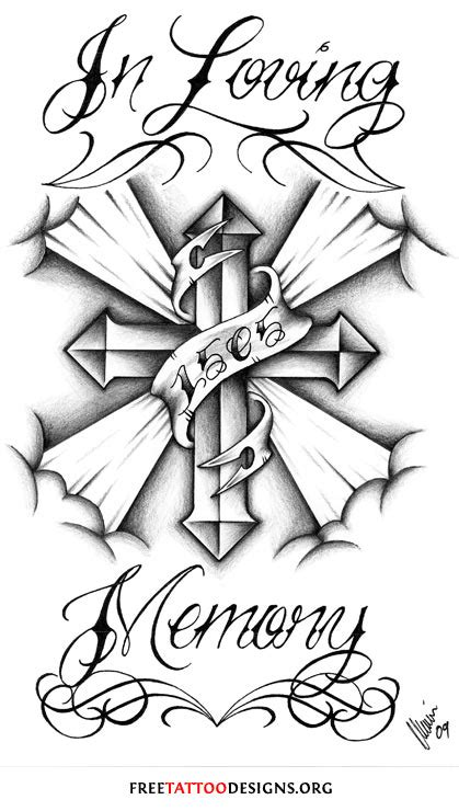 in loving memory tattoo designs cross gallery