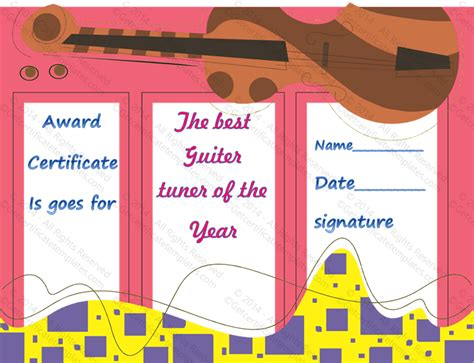 Award Template For Music Guitar Get Certificate Templates Best Templates For Musicians