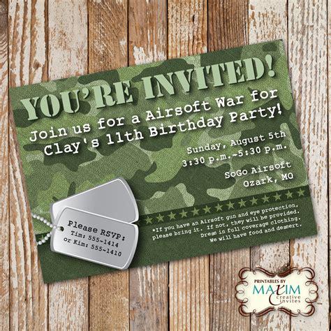 free camo birthday card template camo birthday invitation diy printable invitation army
