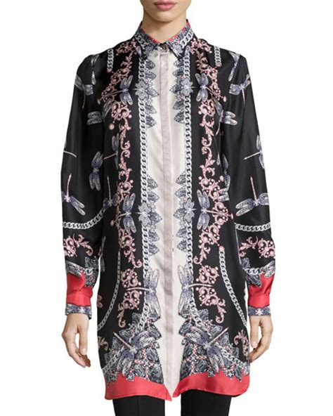 Dragonfly Print Blouse versace sleeve dragonfly print blouse