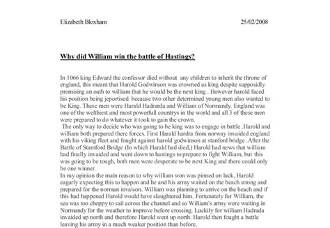 why did william win the battle of hastings a level
