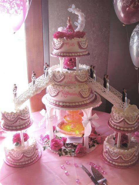 Pin Quinceanera Table Decorations Cake Nanisetc Pink And Silver Quince Cake Quinceanera