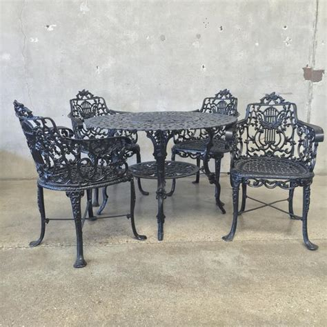 vintage black wrought iron patio set urbanamericana