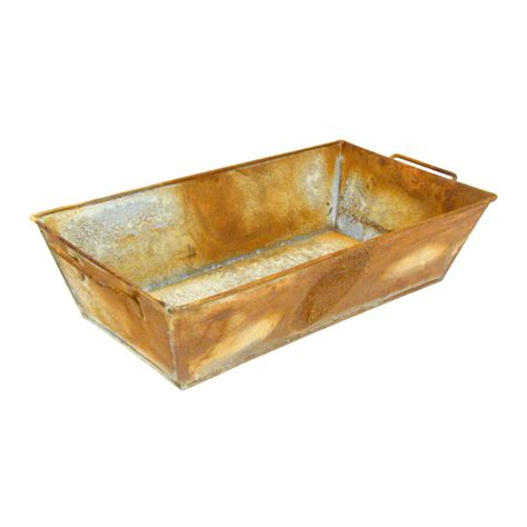 Rectangular Galvanized Planter by Weathered Galvanized Zinc Rectangle Planter