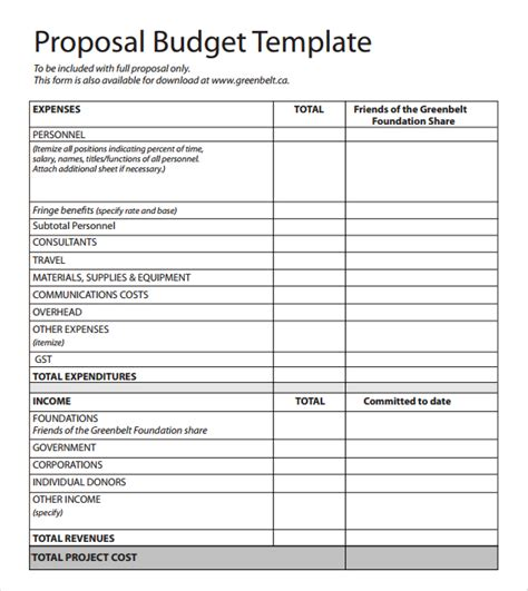 proposed budget template budget template templates