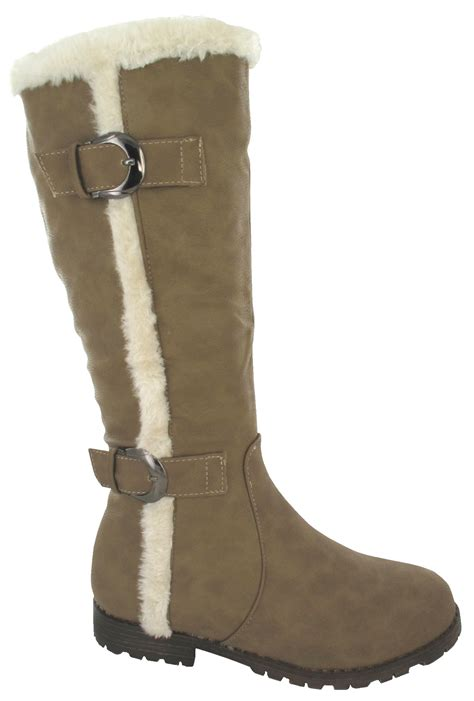 warm winter boots for new buckle flat grip snow sole warm winter mid calf