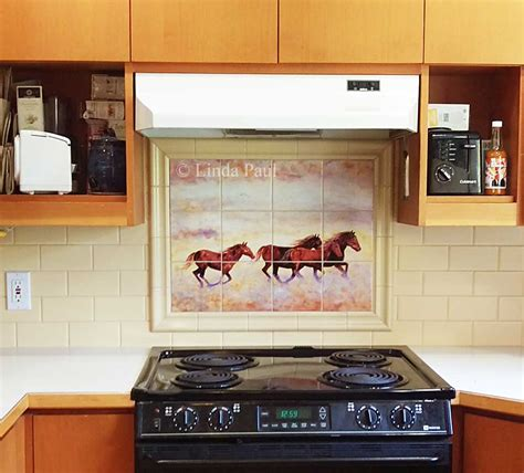 ceramic tile murals for kitchen backsplash murals kitchen tile backsplashes of horses horses
