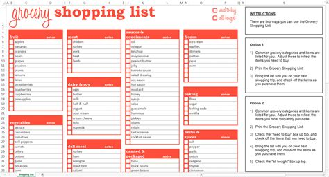 grocery list templates grocery shopping list excel template savvy spreadsheets