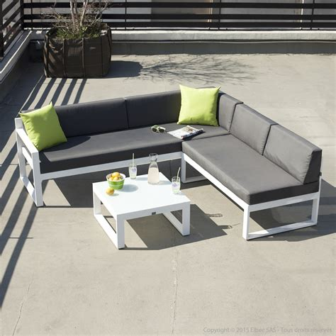 salon de jardin confortable salon de jardin bas 5 places canap 233 d angle table basse en aluminium moderne squareline port