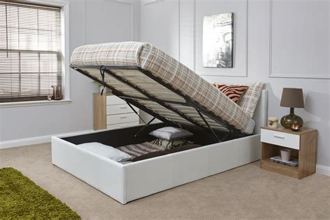 arizona white leather ottoman bed frame the bed depot