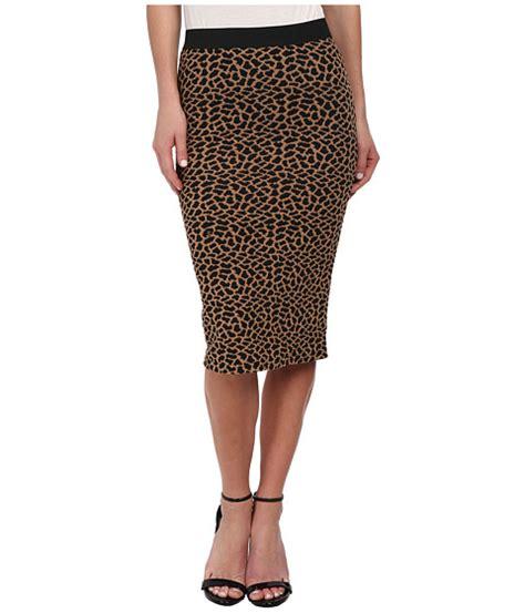 brigitte bailey leopard print textured midi skirt cognac
