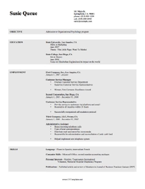 Cv Template For Students Student Cv Template
