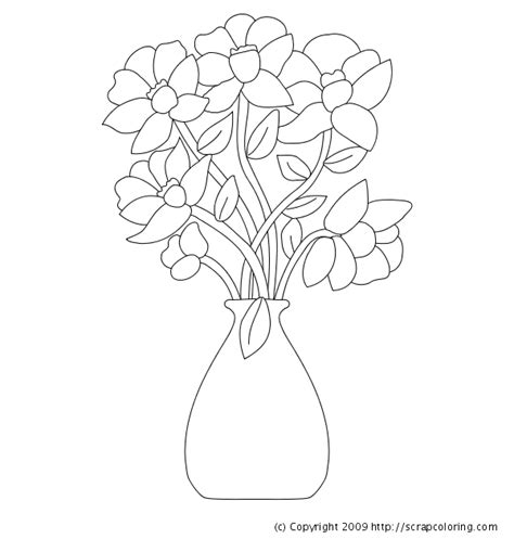 coloring pictures of flowers in a vase flowers in vase coloring page