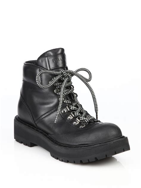 prada hiking boots prada leather lace up hiking boots in black for lyst