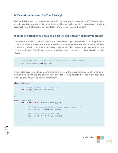 java swings interview questions the java interview questions ebook confused coders