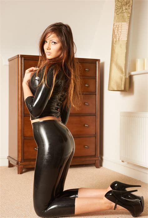 Allysa Pant alyssa louisa posing in tight leather from