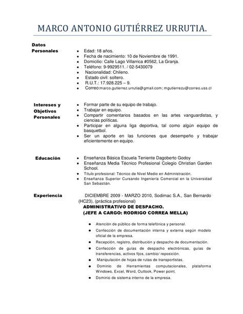 Modelo Curriculum Vitae Gobierno De Chile Marco Antonio Guti 233 Rrez Urrutia Curriculum Vitae