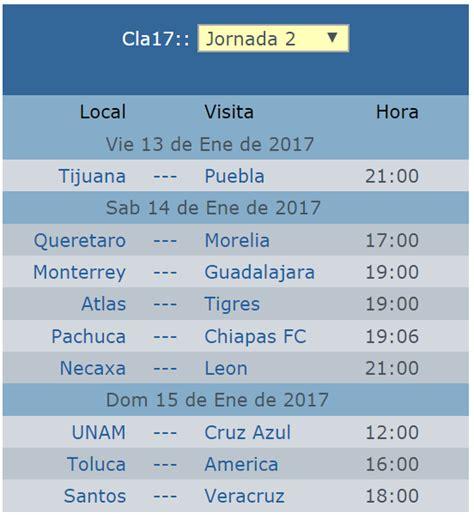 Calendario De Futbol 2017 Calendario De La Jornada 2 Clausura 2017 Futbol