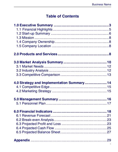 Business Master Plan Template Business Plan Template Master Plans Doc