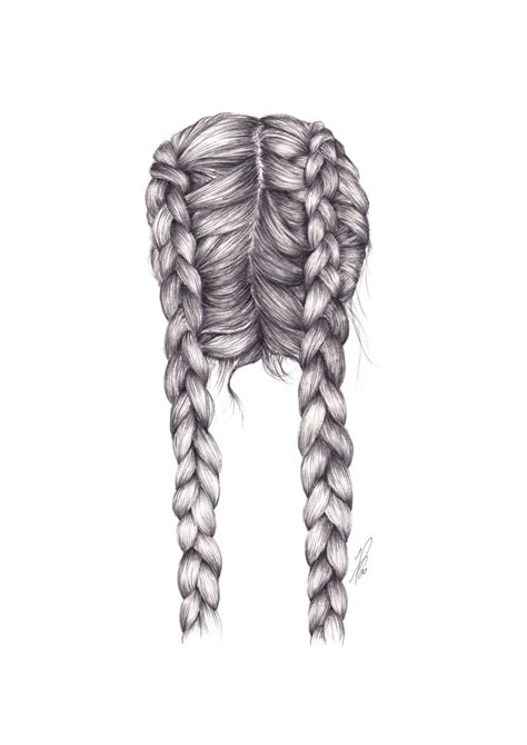 dutch braid illustration hair drawing