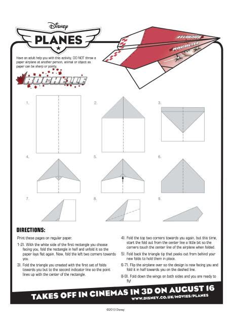How To Make A High Flying Paper Airplane - disney planes rochelle paper plane
