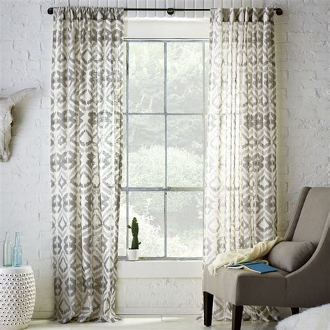 gray printed curtains tali printed window panel eclectic curtains by west elm