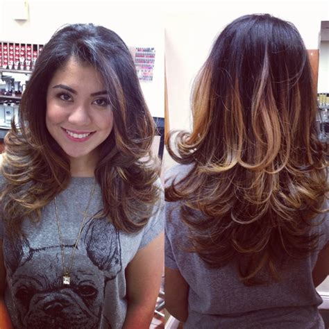 blowdrying a shag haircut ombr 233 layered haircut and blow dry by jessy r yelp