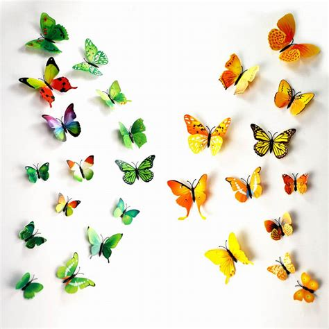Wall Sticker 3d Butterfly Wall Sticker Stiker Dinding Kupu Kupu 3d 3d butterfly wall decals multicolor pvc wall stickers for tv wall bedroom wall home house