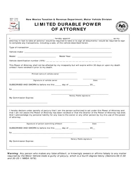 sle limited power of attorney form limited durable power of attorney new mexico motor