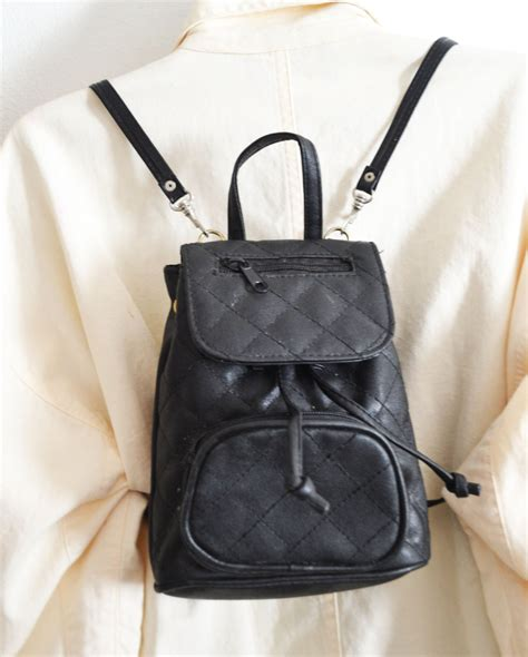 free ship black quilted mini backpack purse small shoulder bag