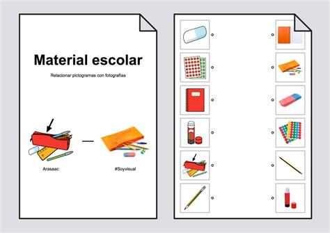 imagenes de utiles escolares con su nombre relacionar material escolar pictogramas fotograf 237 as
