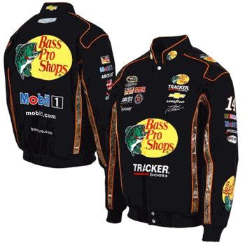 design your own nascar jacket tony stewart bass pro shops mens black and camo twill