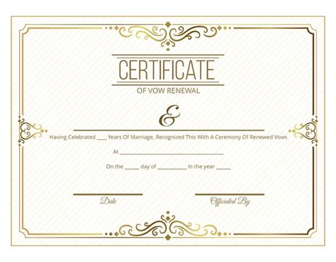 vow renewal certificate template free printable gold scroll certificate of vow renewal i