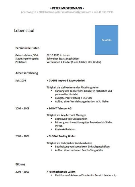 Lebenslauf Vorlage Schweiz Word Gratis Lebenslauf Vorlage Muster Und Vorlagen Kostenlos