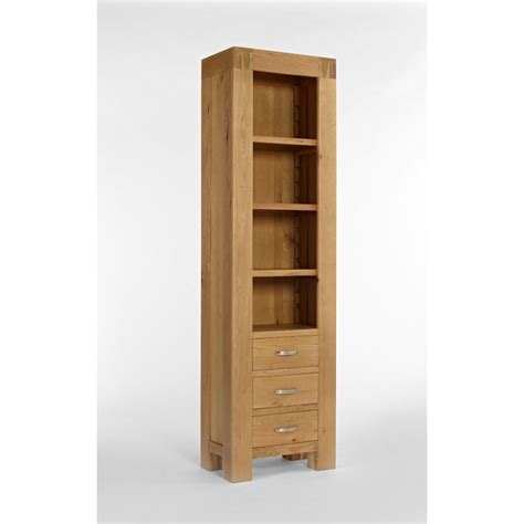 Slim Bookshelf Kingston Chunky Oak Slim Bookcase The Furniture House