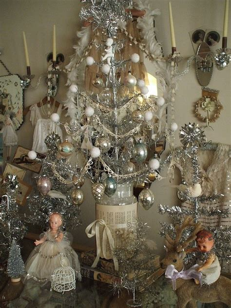 silver christmas decorations shabby chic vintage